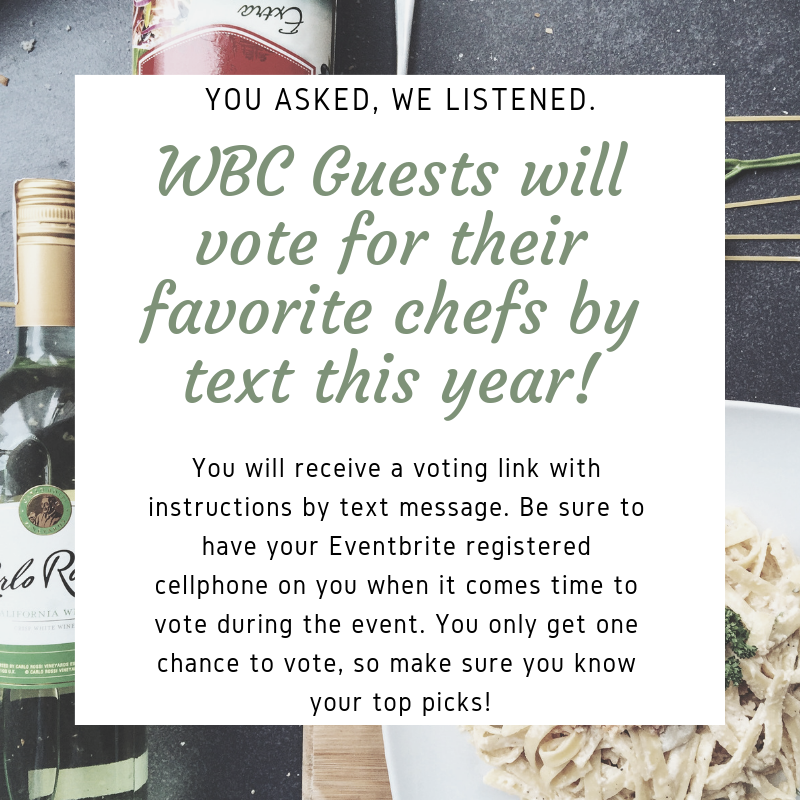 You asked, and we listened. WBC2019 Voting will be electronic this year! This will make it easier and quicker for guests to text in their vote for their favorite student dessert and top 3 favorite dishes. (3)
